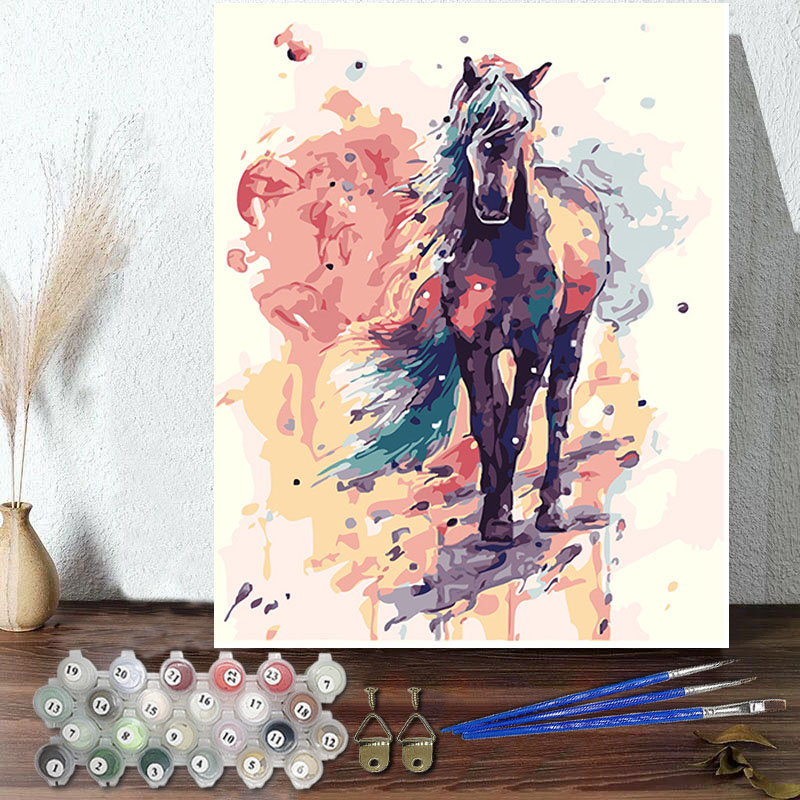 DIY Paint By Numbers Colorful Horse Oil Painting Zero Basis HandPainted Home Decor Canvas Drawing
