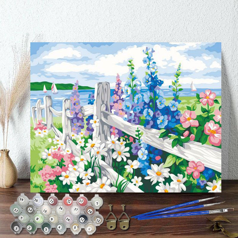 DIY Paint By Numbers Colorful Flowers Oil Painting Zero Basis HandPainted Home Decor Canvas Drawing