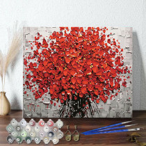 DIY Paint By Numbers Red Petal Oil Painting Zero Basis HandPainted Home Decor Canvas Drawing