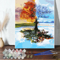 DIY Paint By Numbers Lift Tree Oil Painting Zero Basis HandPainted Home Decor Canvas Drawing