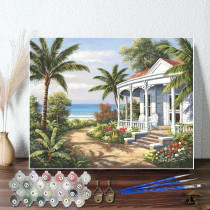 DIY Paint By Numbers Colorful Beach White Palace Oil Painting Zero Basis HandPainted Home Decor Canvas Drawing