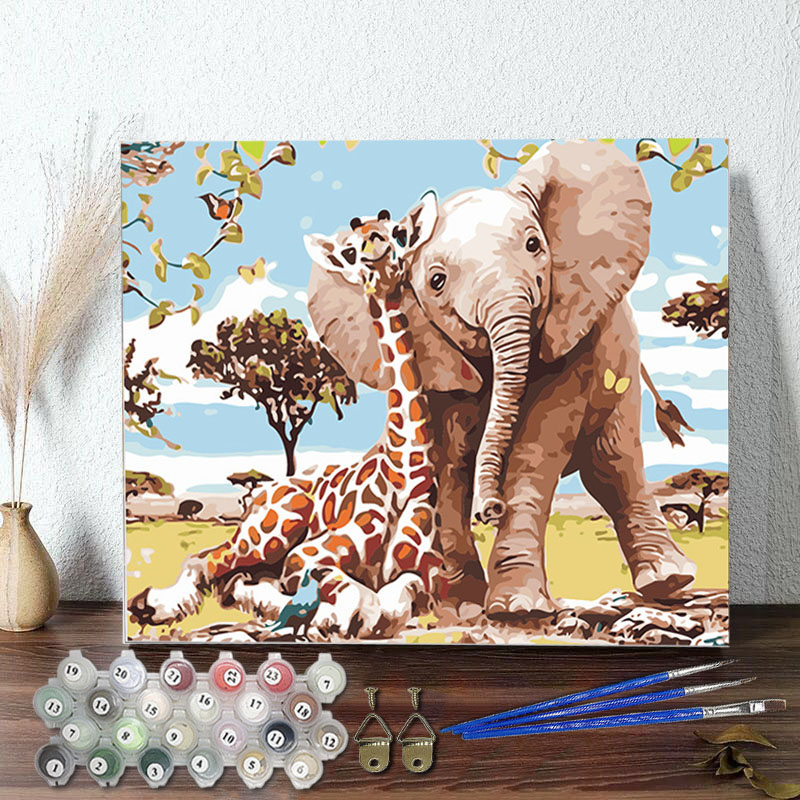DIY Paint By Numbers Colorful Giraffe and Elephant Oil Painting Zero Basis HandPainted Home Decor Canvas Drawing
