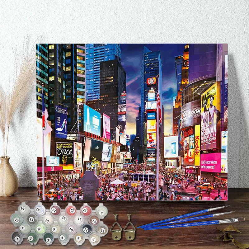 DIY Paint By Numbers Colorful Bustling City Oil Painting Zero Basis HandPainted Home Decor Canvas Drawing