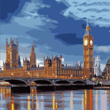 DIY Paint By Numbers London Bridge London Big Ben Tower Oil Painting Zero Basis HandPainted Home Decor Canvas Drawing
