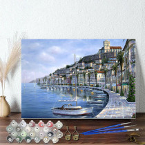 DIY Paint By Numbers Colorful Seaside City Oil Painting Zero Basis HandPainted Home Decor Canvas Drawing