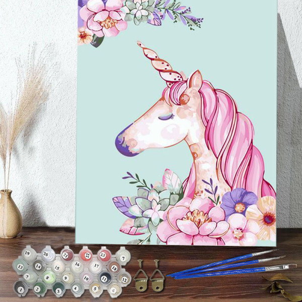 DIY Paint By Numbers Pink Unicorn Oil Painting Zero Basis HandPainted Home Decor Canvas Drawing