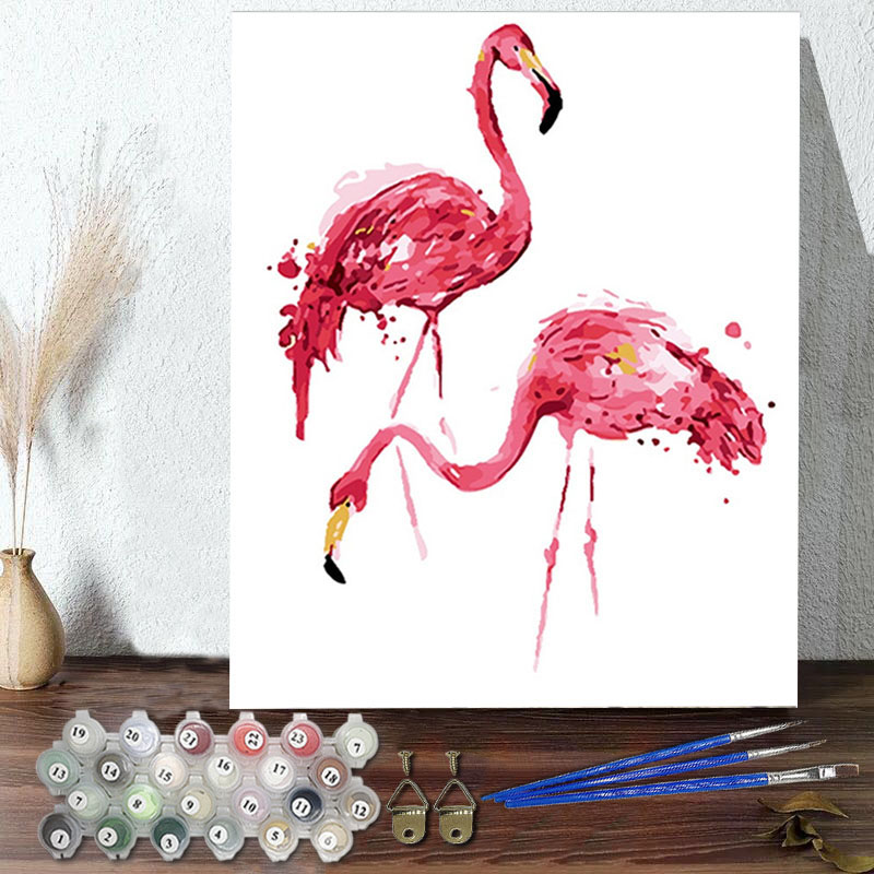 DIY Paint By Numbers Colorful Flamingo Oil Painting Zero Basis HandPainted Home Decor Canvas Drawing