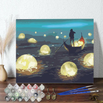 DIY Paint By Numbers Colorful Ferryman Oil Painting Zero Basis HandPainted Home Decor Canvas Drawing