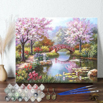 DIY Paint By Numbers Colorful Sakura Scenery Romantic Stream Oil Painting Zero Basis HandPainted Home Decor Canvas Drawing