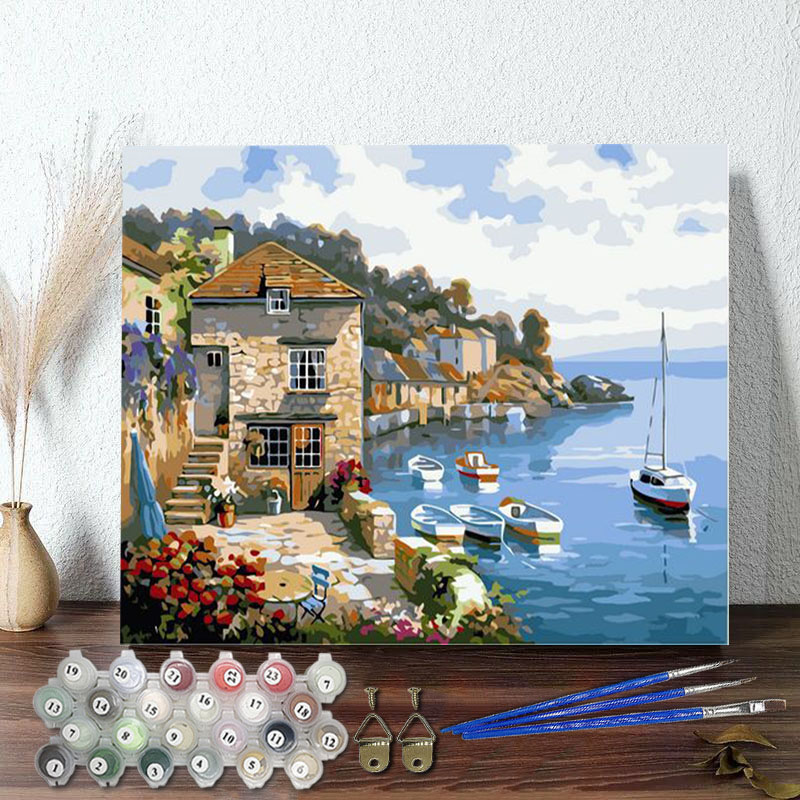 DIY Paint By Numbers Blue Sea Beach Oil Painting Zero Basis HandPainted Home Decor Canvas Drawing