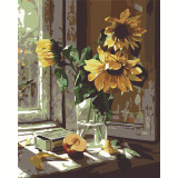 DIY Paint By Numbers Colorful Sunflower Oil Painting Zero Basis HandPainted Home Decor Canvas Drawing