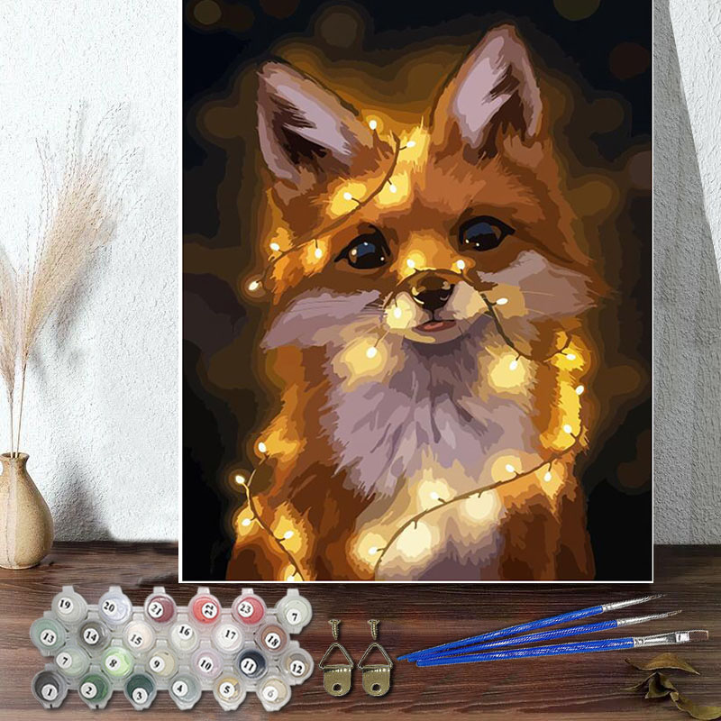 DIY Paint By Numbers Cute Dog Oil Painting Zero Basis HandPainted Home Decor Canvas Drawing