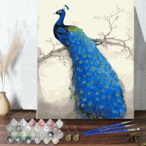 DIY Paint By Numbers Colorful Blue Peafowl Oil Painting Zero Basis HandPainted Home Decor Canvas Drawing