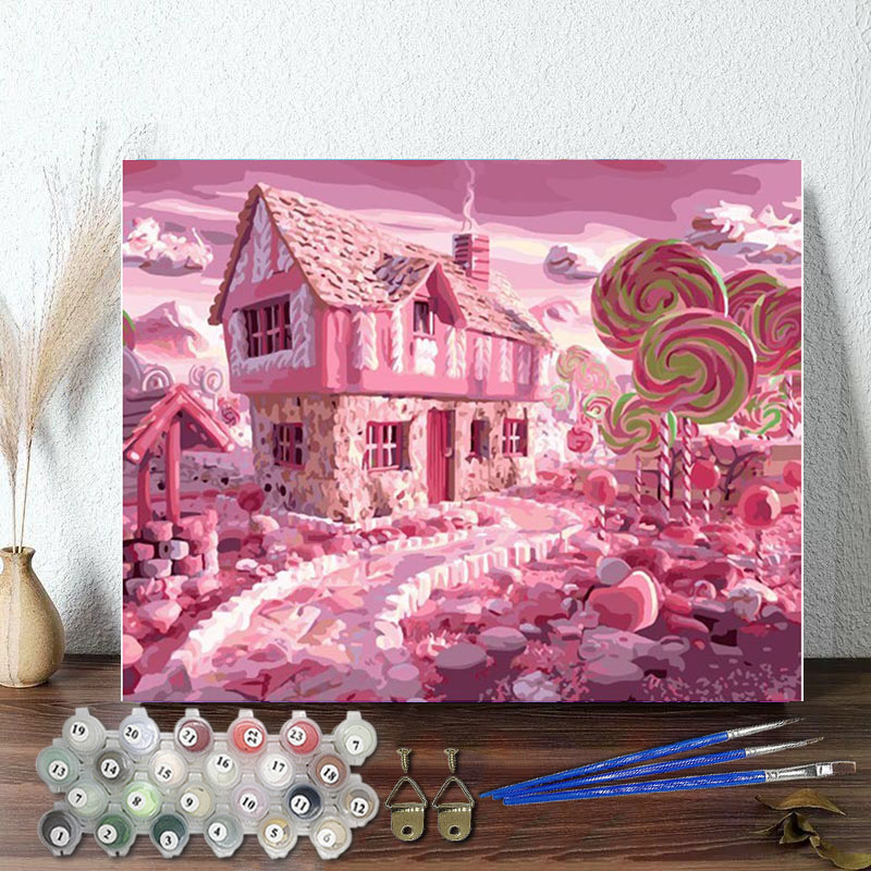 DIY Paint By Numbers Colorful Sweethouse Oil Painting Zero Basis HandPainted Home Decor Canvas Drawing