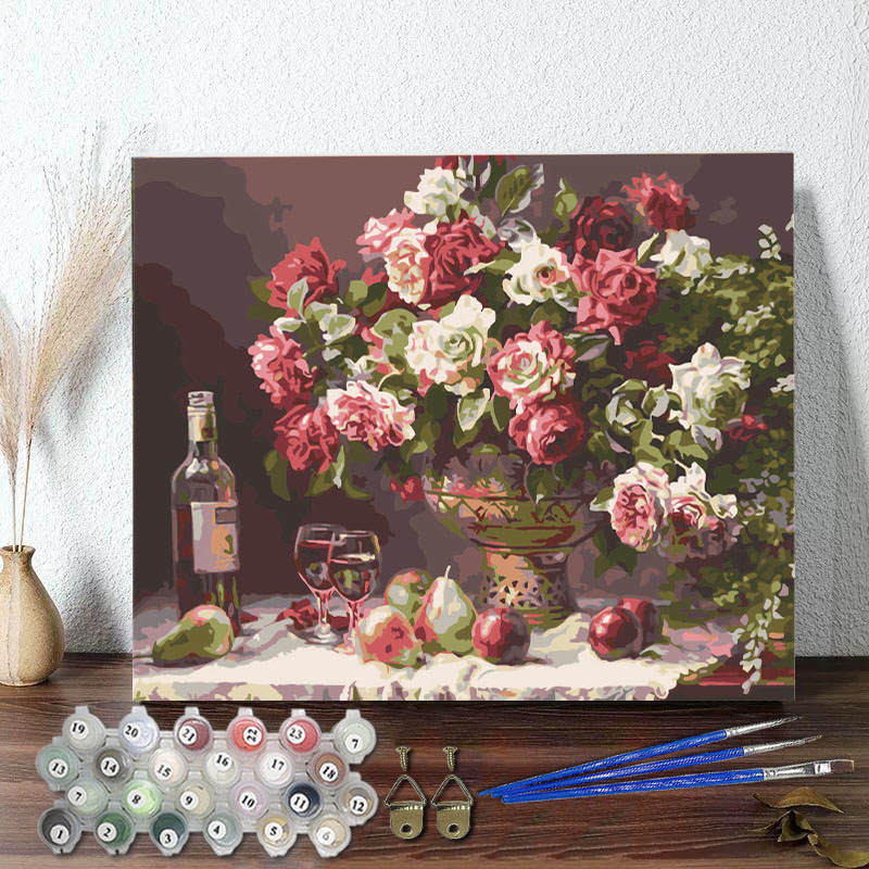DIY Paint By Numbers Colorful Rose Wine Oil Painting Zero Basis HandPainted Home Decor Canvas Drawing