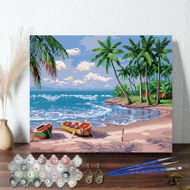 DIY Paint By Numbers Colorful Seascape Oil Painting Zero Basis HandPainted Home Decor Canvas Drawing