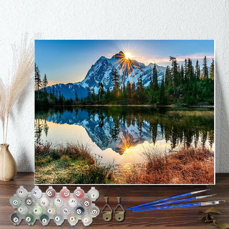 DIY Paint By Numbers Colorful Mountain View Oil Painting Zero Basis HandPainted Home Decor Canvas Drawing