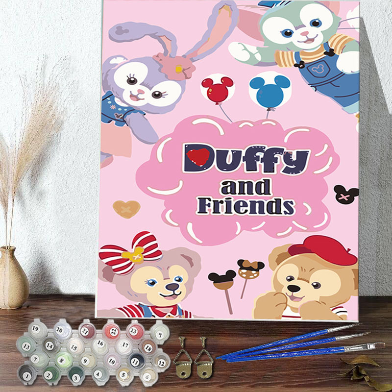 DIY Paint By Numbers Rabbit Bear Duffy And Friends Oil Painting Zero Basis HandPainted Home Decor Canvas Drawing