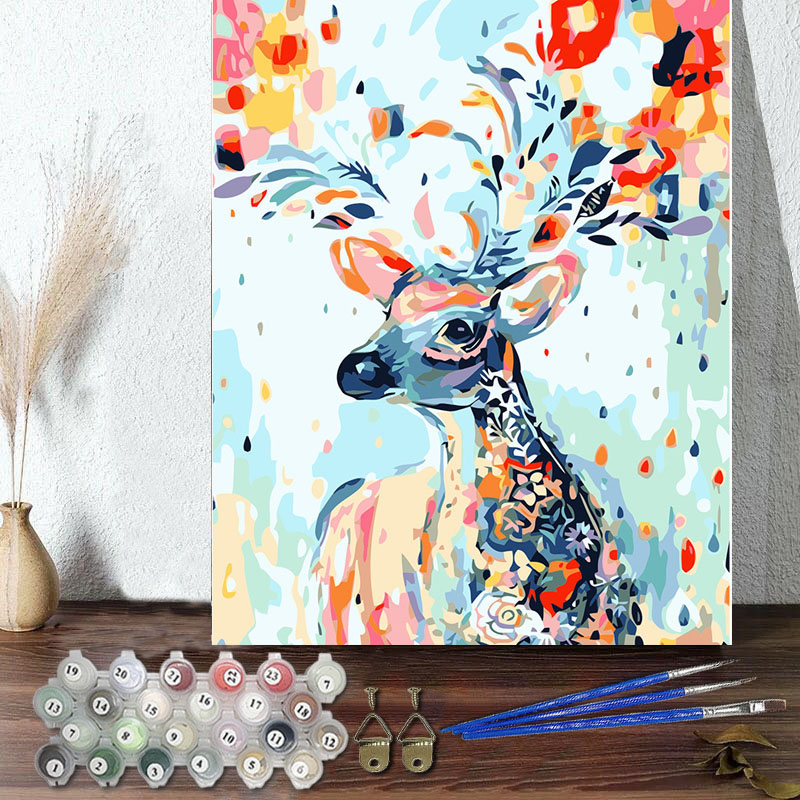DIY Paint By Numbers Colorful Flowers Deer Oil Painting Zero Basis HandPainted Home Decor Canvas Drawing