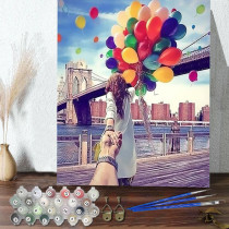 DIY Paint By Numbers London Bridge Balloon Oil Painting Zero Basis HandPainted Home Decor Canvas Drawing