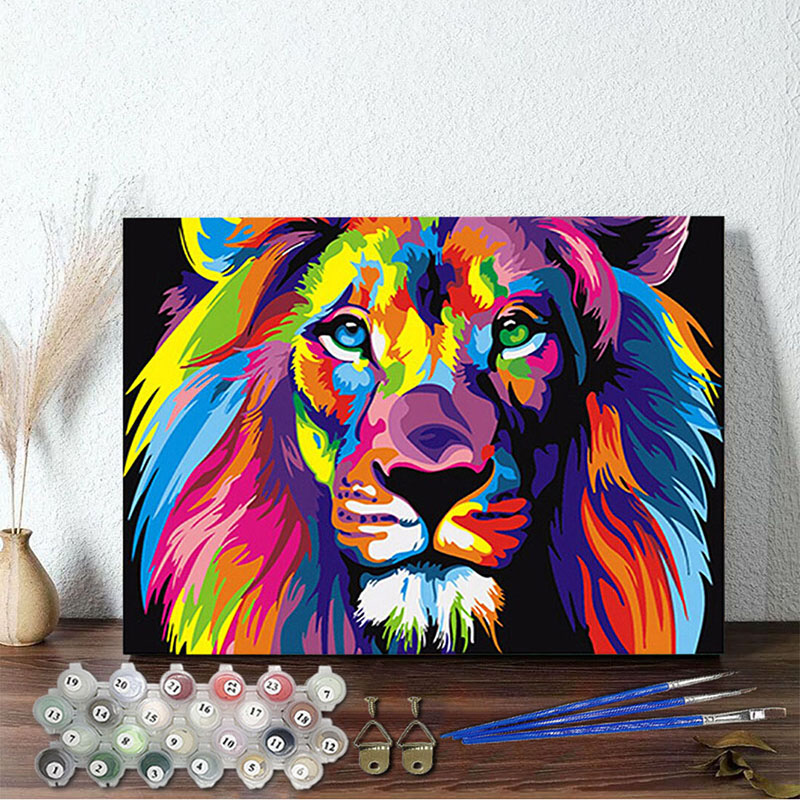 DIY Paint By Numbers Rainbow Lion Oil Painting Zero Basis HandPainted Home Decor Canvas Drawing