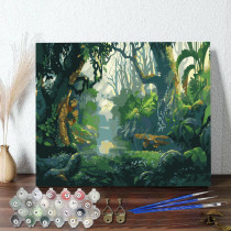 DIY Paint By Numbers Colorful Forest Oil Painting Zero Basis HandPainted Home Decor Canvas Drawing