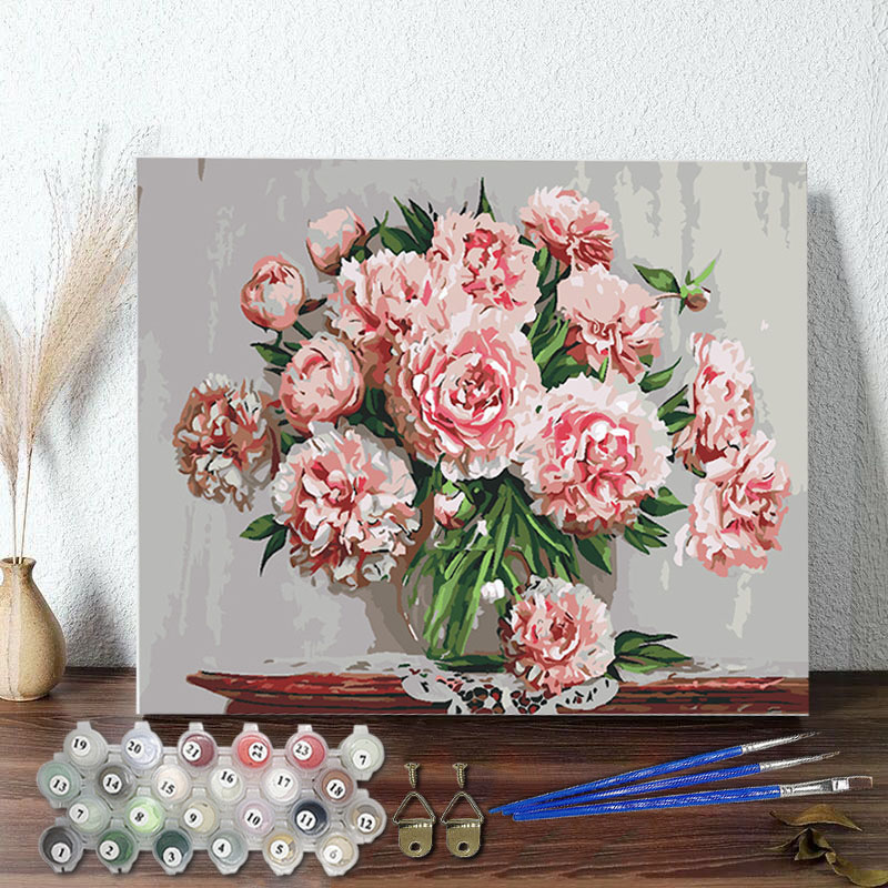 DIY Paint By Numbers Colorful Flower Oil Painting Zero Basis HandPainted Home Decor Canvas Drawing