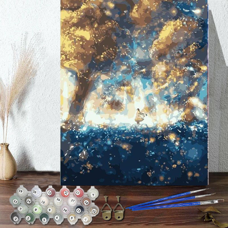 DIY Paint By Numbers Colorful Star Sky Oil Painting Zero Basis HandPainted Home Decor Canvas Drawing