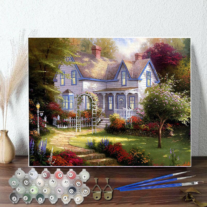DIY Paint By Numbers Colorful Castle Oil Painting Zero Basis HandPainted Home Decor Canvas Drawing