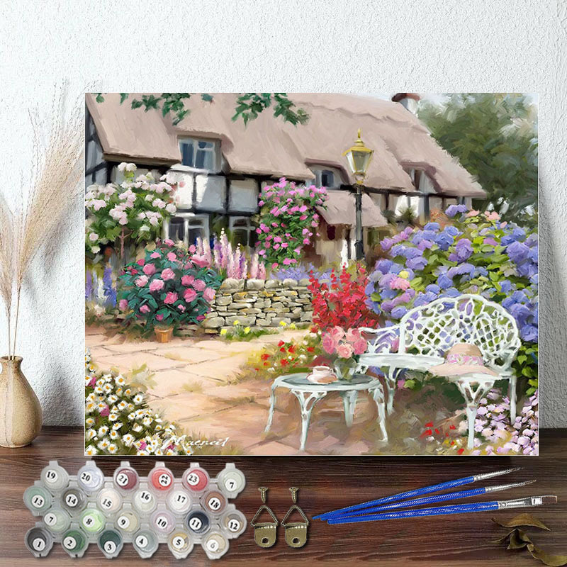 DIY Paint By Numbers Colorful Cottages Oil Painting Zero Basis HandPainted Home Decor Canvas Drawing