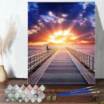 DIY Paint By Numbers Colorful Sunset Oil Painting Zero Basis HandPainted Home Decor Canvas Drawing