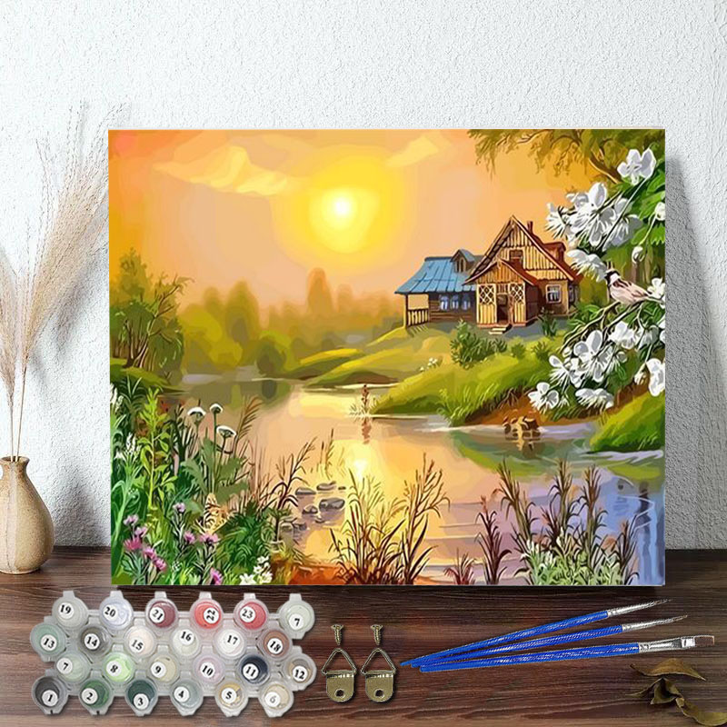DIY Paint By Numbers Colorful Sunrise Oil Painting Zero Basis HandPainted Home Decor Canvas Drawing