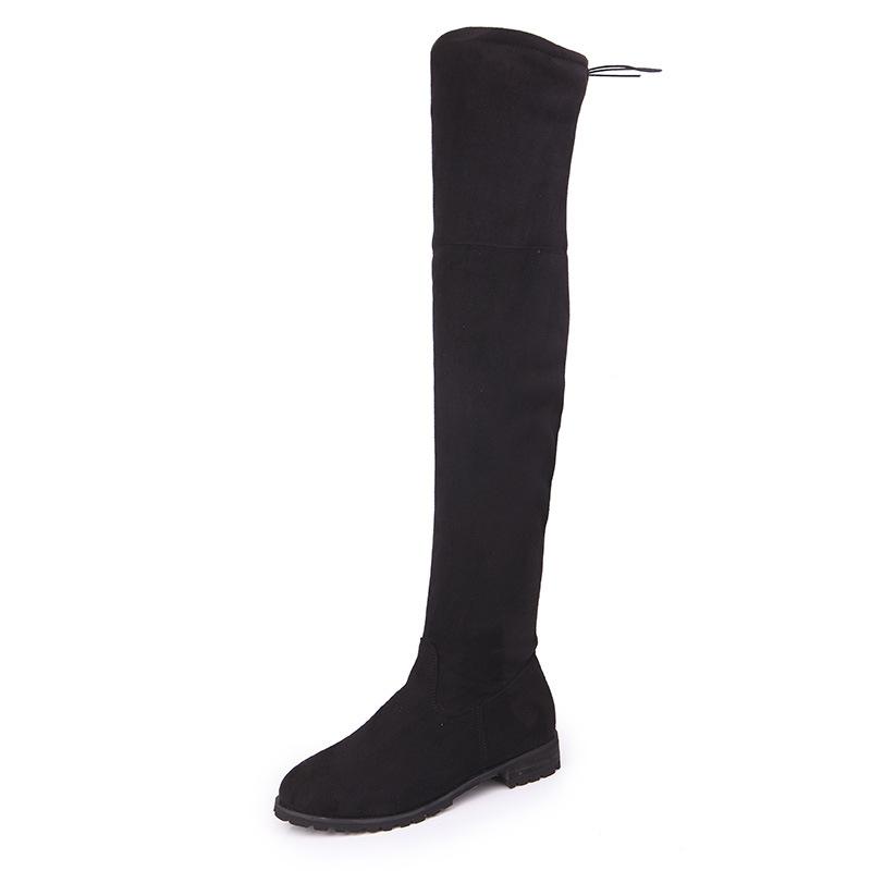 Classic Women Zipper Boots Over The Knee High Suede Flat Boots