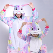 Family Kigurumi Pajamas Rainbow Rabbit Stars Animal Onesie Cosplay Costume Pajamas For Kids and Adults