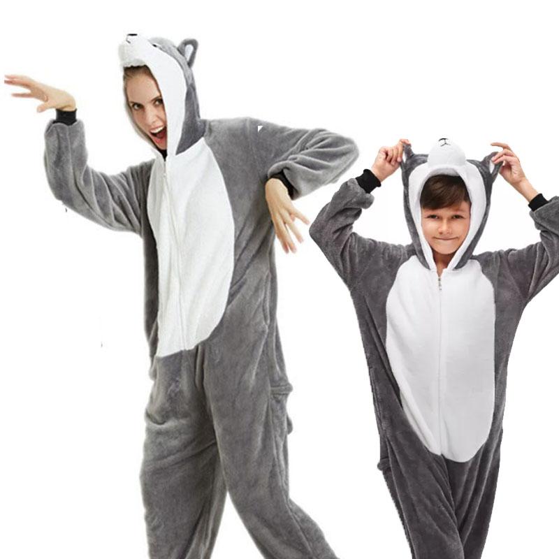 Family Kigurumi Pajamas Grey Husky Dog Animal Onesie Cosplay Costume Pajamas For Kids and Adults