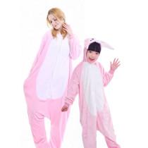 Family Kigurumi Pajamas Pink Rabbit Animal Onesie Cosplay Costume Pajamas For Kids and Adults
