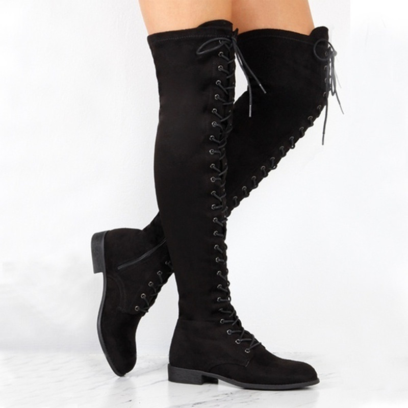 Round Toe Lace-up Over The Knee Suede Thigh High Boots