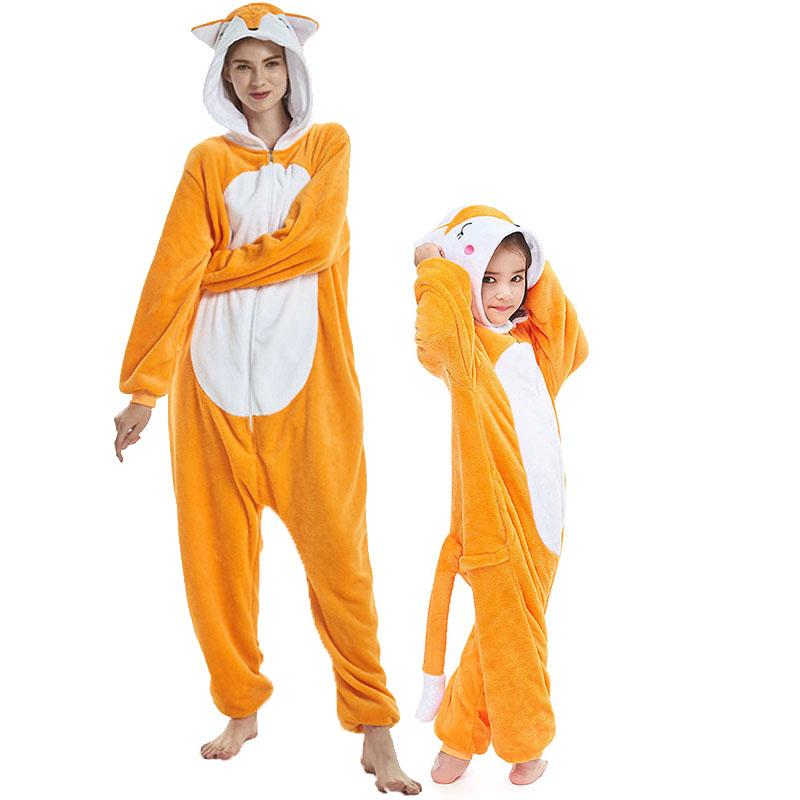 Family Kigurumi Pajamas Orange Embroidery Fox Animal Onesie Cosplay Costume Pajamas For Kids and Adults