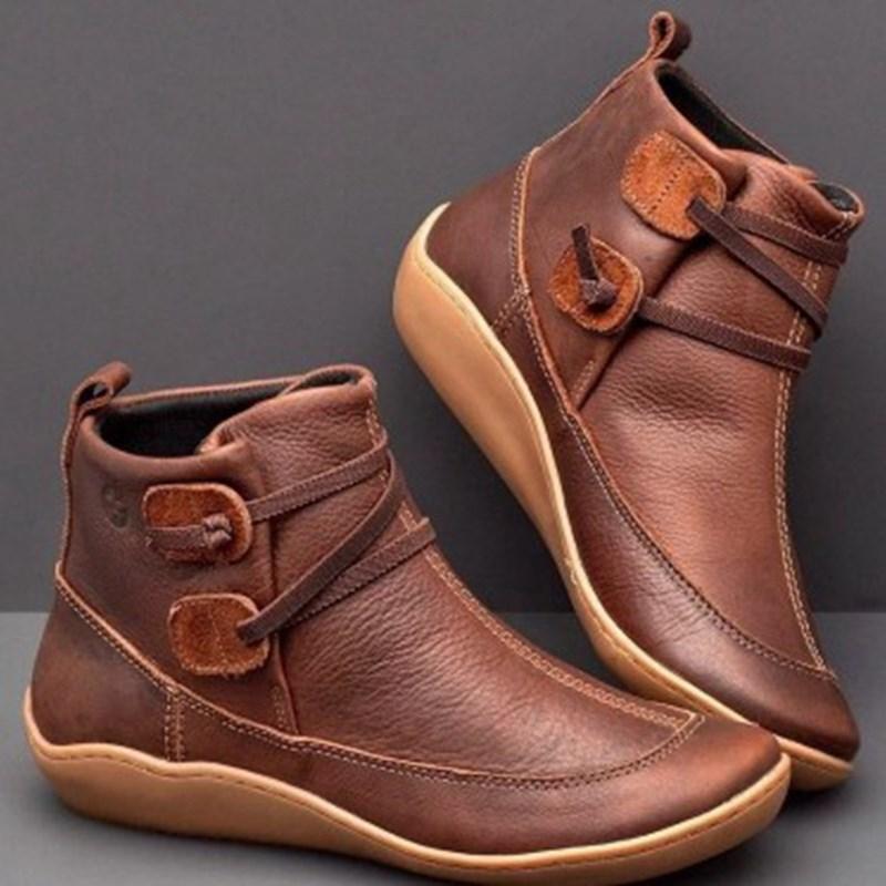Flat Ankle Boots Women Vintage Comfy Martin Booties Plus Size Ladies Short Suede Boots