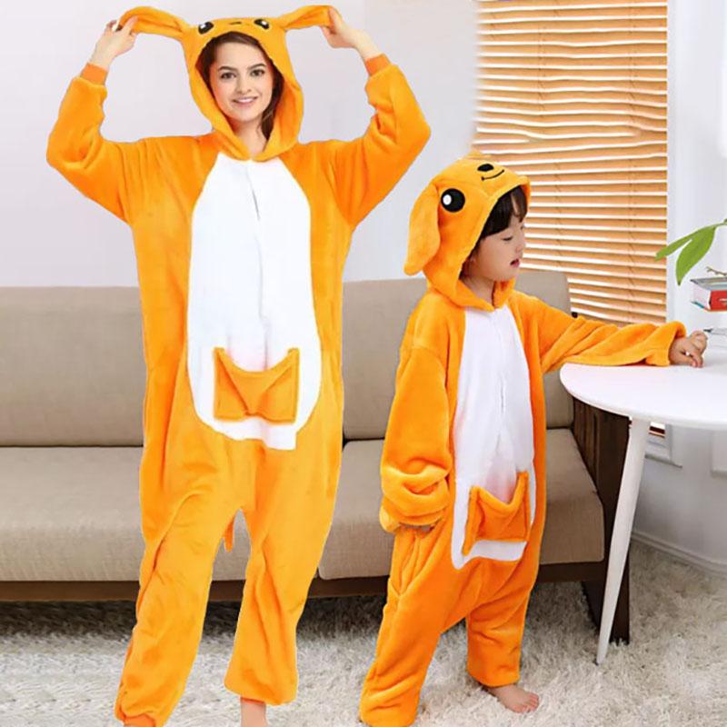 Family Kigurumi Pajamas Orange Kangaroo Animal Onesie Cosplay Costume Pajamas For Kids and Adults