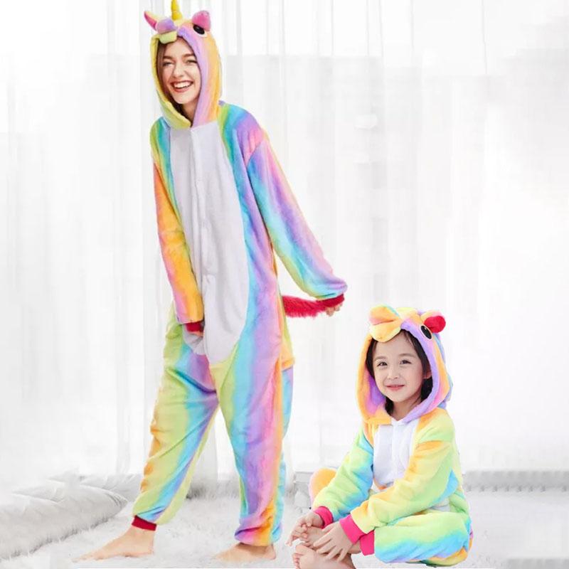 Family Kigurumi Pajamas Rainbow Unicorn Animal Onesie Cosplay Costume Pajamas For Kids and Adults