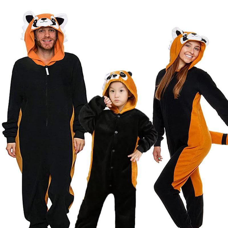 Family Kigurumi Pajamas Brown Raccoon Animal Onesie Cosplay Costume Pajamas For Kids and Adults