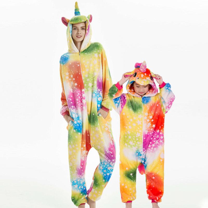 Family Kigurumi Pajamas Rainbow Matching Color Unicorn Animal Onesie Cosplay Costume Pajamas For Kids and Adults