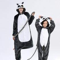 Family Kigurumi Pajamas Grey Lemur Catta Animal Onesie Cosplay Costume Pajamas For Kids and Adults