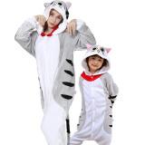 Family Kigurumi Pajamas Grey Chis Sweet Cat Animal Onesie Cosplay Costume Pajamas For Kids and Adults