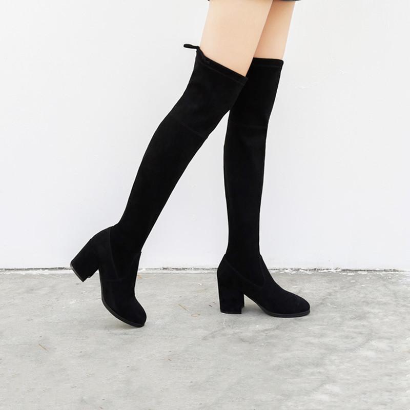 Suede Sexy Over The Knee Tie-up High Heel Boots
