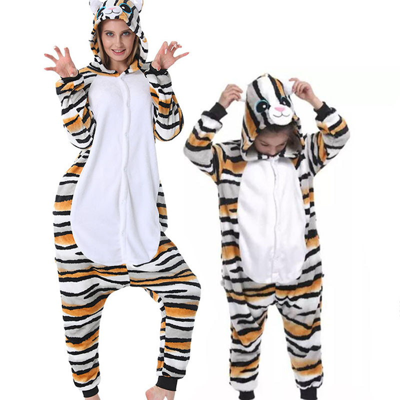Family Kigurumi Pajamas Oragne and Grey 3 Colors Cat Animal Onesie Cosplay Costume Pajamas For Kids and Adults