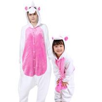 Family Kigurumi Pajamas Pink and White Unicorn Animal Onesie Cosplay Costume Pajamas For Kids and Adults