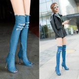Fashion Cowboy Over The Knee Peep Toe Denim Thigh High-heeled Pointy Boots