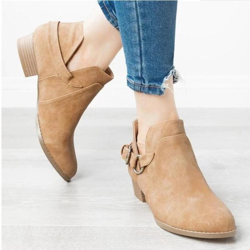 Women's Outside Shoes Martin Pointed Toe Belt Non-slip Suede Boots